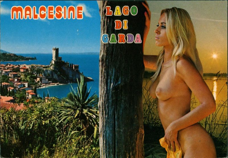 Cartoline Malcesine Stadt, nackte Frau Nude Erotik 1979
