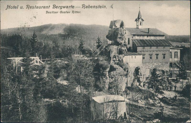 Grottau Hrádek nad Nisou Hotel Restaurant Bergwarte Rabenstein Bes. Gustav Ritter 1909/1907