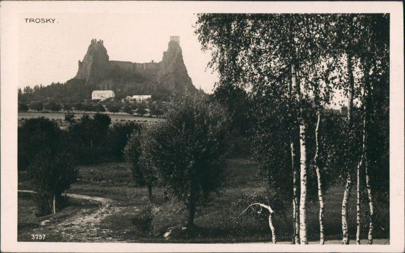 Rowensko bei Turnau Rovensko pod Troskami Hrad Burg Ruine Trosky  Castle 1929