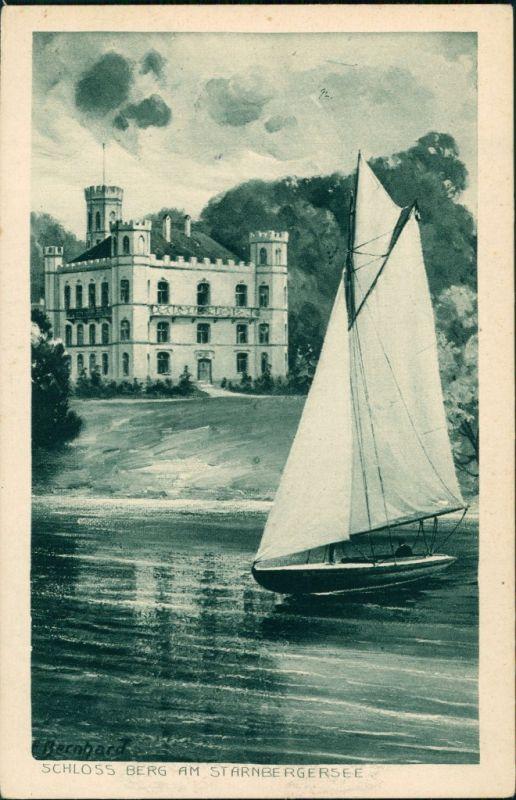 Berg (Starnbergersee) Schloss Berg, Segelboot - Künstlerkarte 1928