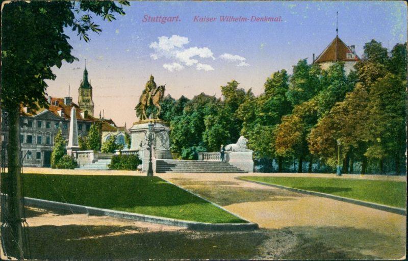 Ansichtskarte Stuttgart Altes Schloss, Kaiser Wilhelm Denkmal 1914