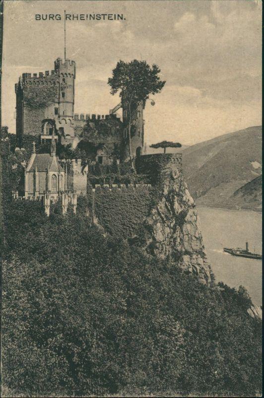 Ansichtskarte Bingen am Rhein Burg / Schloss Rheinstein 1913