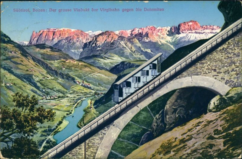Cartoline Bozen Bolzano Virglbahn Dolomiten Künstlerkarte 1913