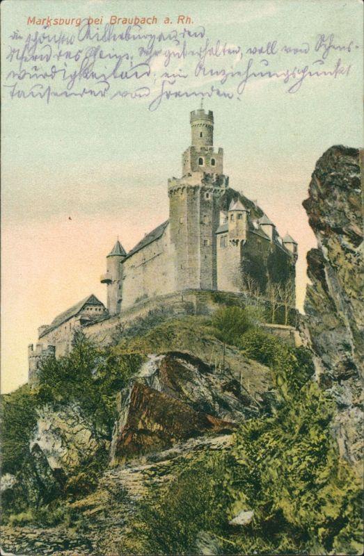 Ansichtskarte Braubach Marksburg, Burgberg 1907