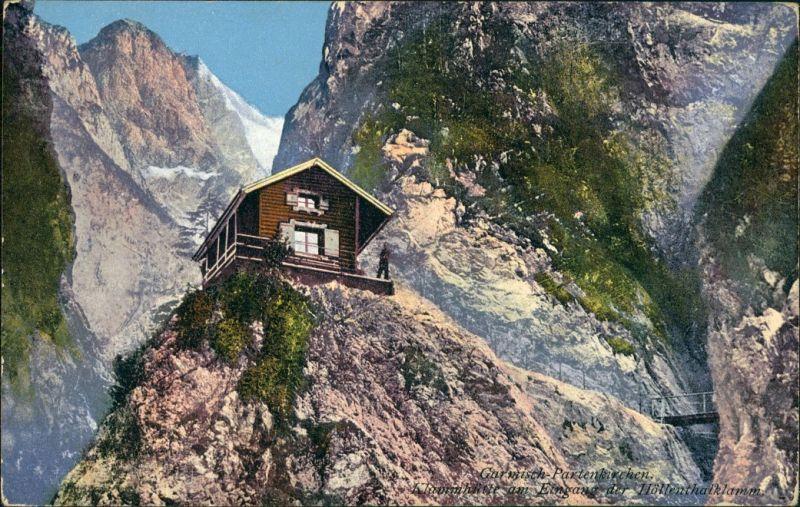 Ansichtskarte Garmisch-Partenkirchen Höllentalklamm - Hütte 1912