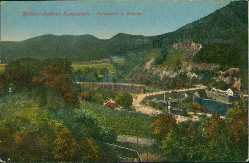 Ansichtskarte Bad Kreuznach Salinental und Brücke 1924