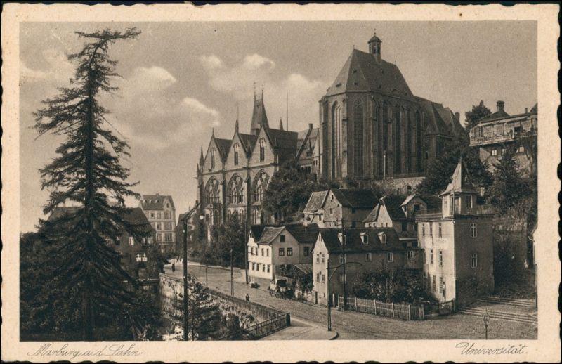 Ansichtskarte Marburg an der Lahn Universität, Straßenpartie 1928