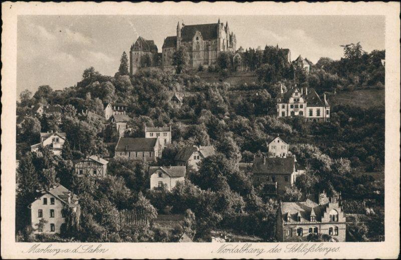 Ansichtskarte Marburg an der Lahn Partie am Nordhang 1928