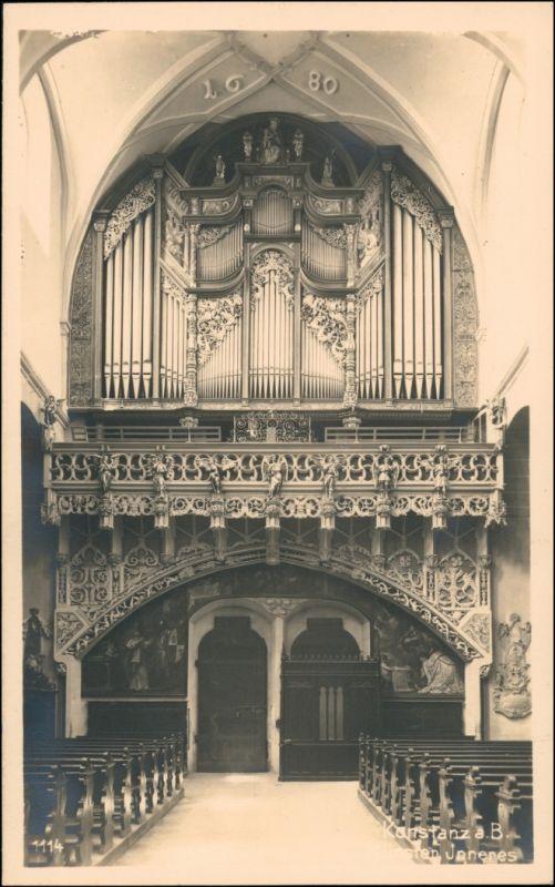 Ansichtskarte Konstanz Innenansicht - Münster, Orgel 1928
