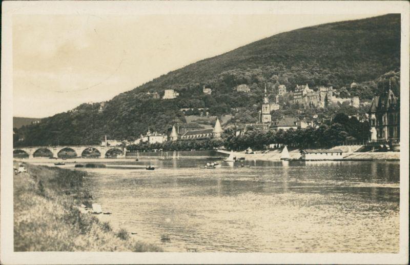 Ansichtskarte Heidelberg Rheinpartie - Flussbadeanstalt 1924
