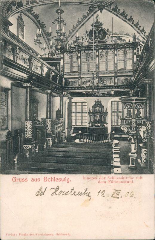Ansichtskarte Schleswig (Sleswig/Slesvig) Inneres der Kirche 1906