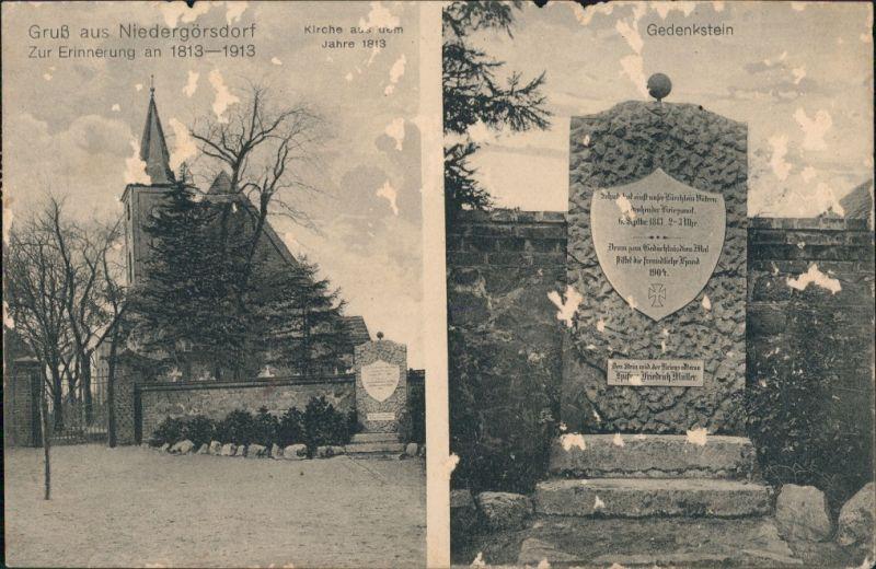 Ansichtskarte Niedergörsdorf 2 Bild: Kirche u. Gedenkstein 1909