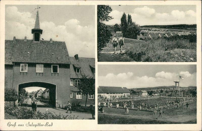 Ansichtskarte Salzgitter 3 Bild: Straße, Schwimmbad 1934