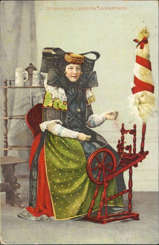 Ansichtskarte Bückeburg Trachten aus Schaumburg-Lippe - Spinnerin 1911