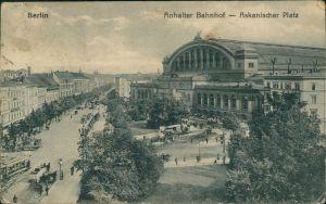 Ansichtskarte Kreuzberg-Berlin Anhalter Bahnhof, Askanischer Platz 1925
