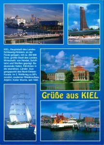 Kiel Mehrbild-AK mit Hafen, Schiffe, Segelschiff, Laboe Marine-Denkmal 2005