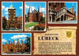 Ansichtskarte Lübeck Chronik Postkarte mit 4 Echtfoto-Ansichten 1980