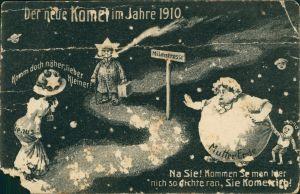 Ansichtskarte  Künstler-Scherzkarte Der neue Komet 1910