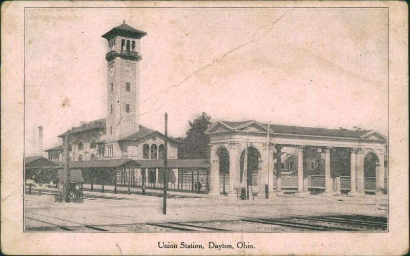 Postcard Dayton (Ohio) Bahnhof Union Station 1906