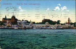 Ansichtskarte St. Pauli-Hamburg Landungsbrücken St. Pauli Hafen Ansicht 1911