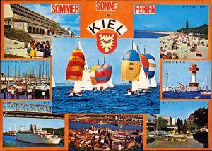 Kiel Mehrbild-AK ua. Segel-Regatta, Laboe, Hafen, Schiffe, Luftbild 1980