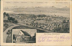 Ansichtskarte Herrliberg 2 Bild: Stadt, Spezereihandlung 1922