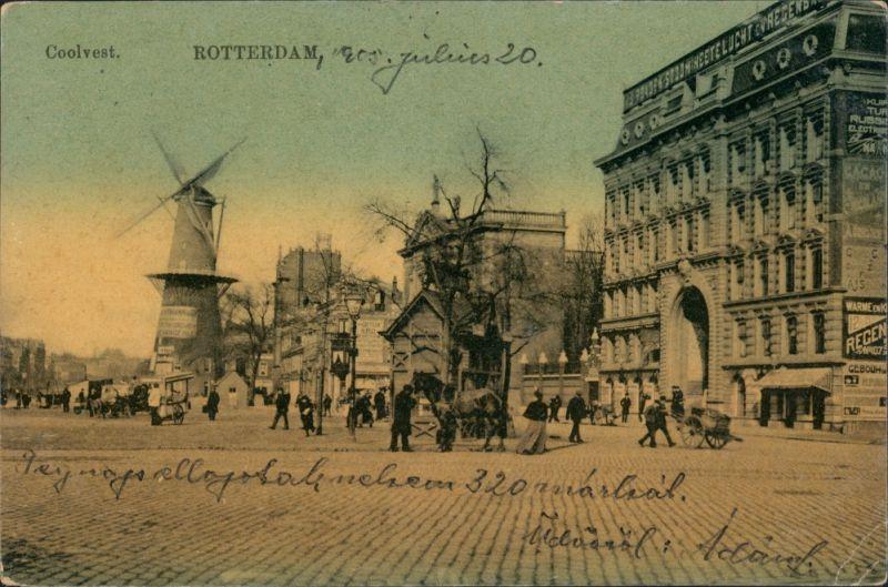 Postkaart Rotterdam Rotterdam Windmühle, Straße, Hotel 1906