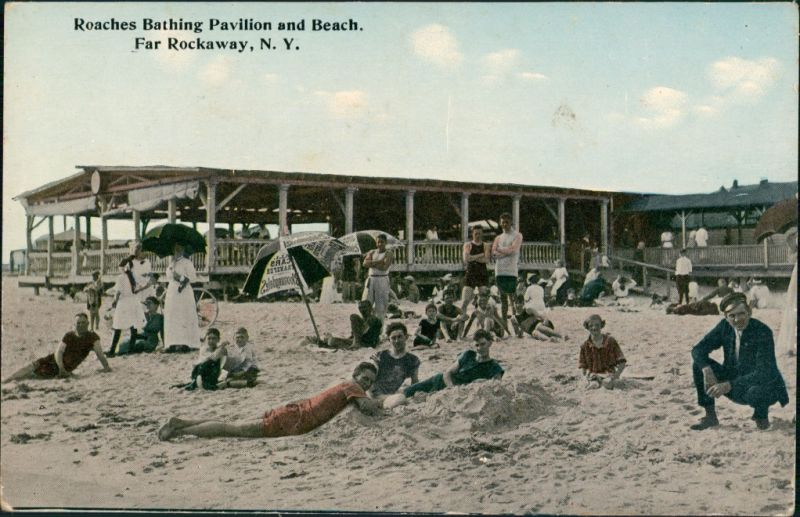 Postcard Rockaway (New Jersey) Roaches Vathing Pavilion and Beach 1912