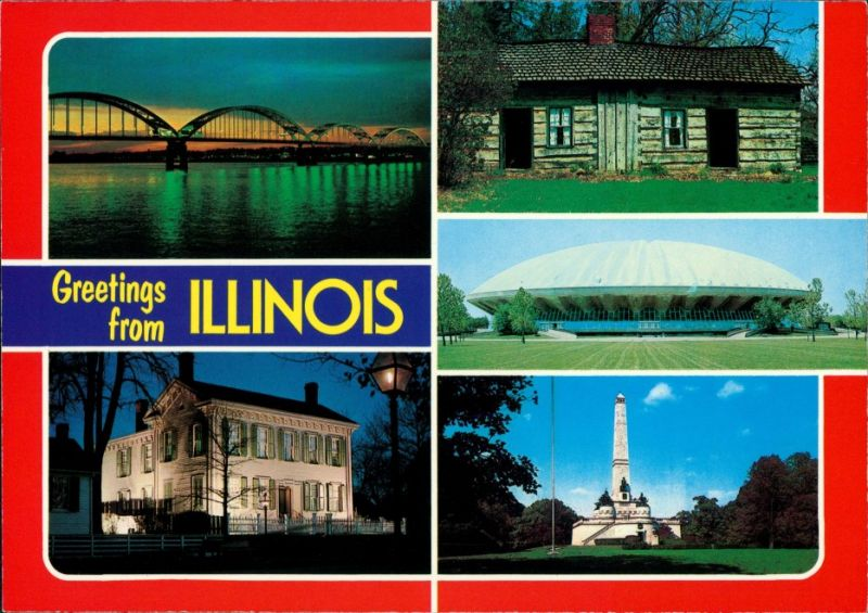 Illinois (US-Bundesstaat) Greetings from Illinois, Mississippi River uvm. 1990