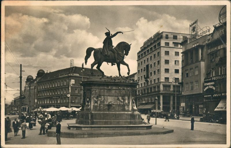 Foto Zagreb Spomenik Jelacic Bana 1932 Privatfoto