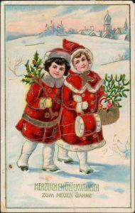 Ansichtskarte  Neujahr Mädchen Misteln Goldprägekarte 1912 Goldrand
