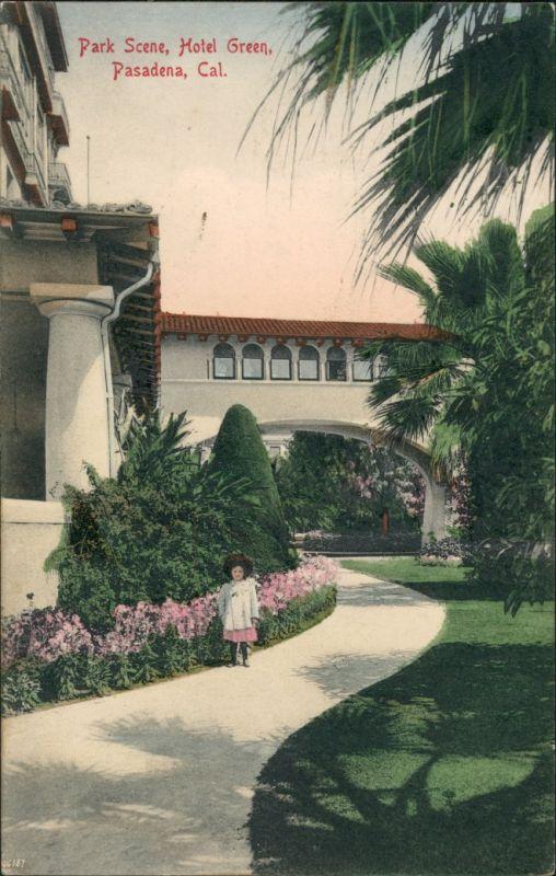 Postcard Pasadena Park Scene Hotel Green 1908