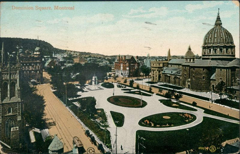 Postcard Montreal Dominion Square 1913