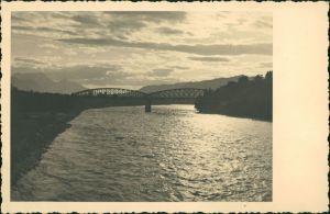 Ansichtskarte  Stimmungsbild Natur Fluss Brücke Abend-/Morgenstimmung 1940