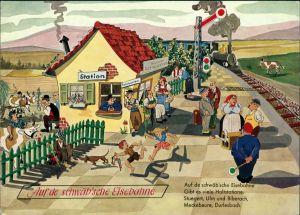Schwäbische Eisenbahn Humor Scherzkarte mit Station, Bahnhof 1960