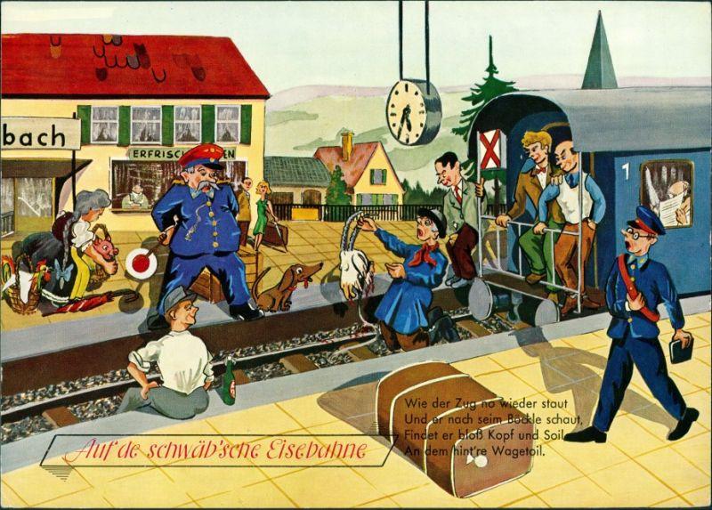 Ansichtskarte  Scherzkarten - Auf de schäb'sche Einsenbahn 1999
