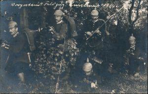 Postcard .Russland Doldaten Tornister Pickelhauben Gewehr Rußland 1914