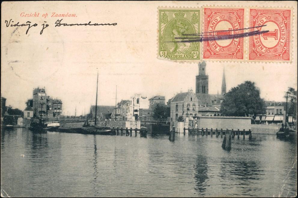 Postkaart Zaandam Gezicht Hafen 1909