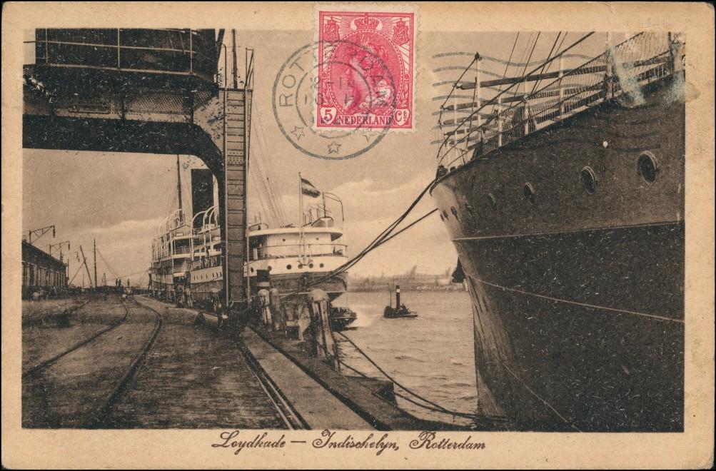 Postkaart Rotterdam Rotterdam Loydkade Indischhafen 1922