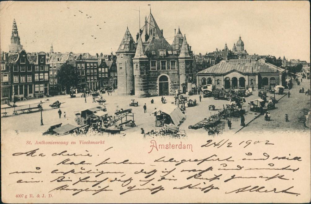 Postkaart Amsterdam Amsterdam Vischmarkt St. Anthoniuswaag 1902