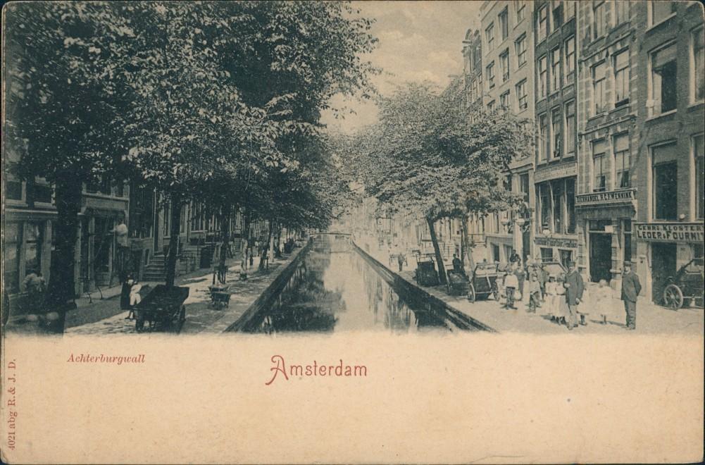 Postkaart Amsterdam Amsterdam Achterburgwall - Geschäfte 1908