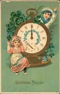 Glückwunsch - Neujahr/Sylvester Riesenuhr Kinder Goldprägekarte Kleeblätter 1912 Goldrand