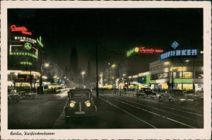 Charlottenburg-Berlin Kurfürstendamm Nacht Leuchtreklame coloriert 1955