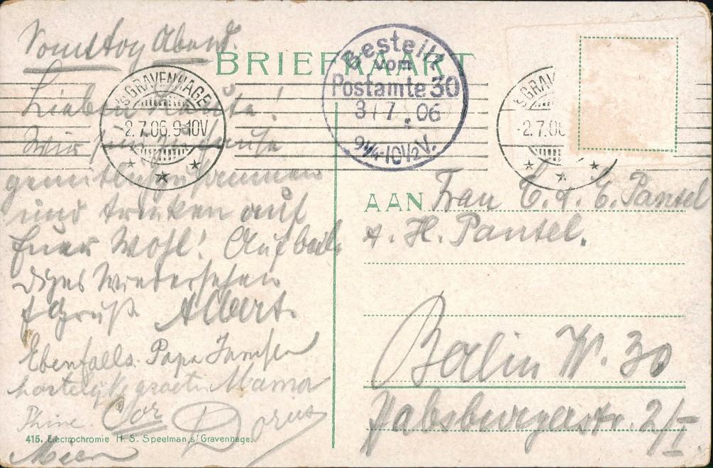 Den Haag Den Haag Partie am Buitenhof, Pferde-Tram, Personen, Denkmal 1906 1