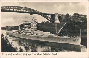 Ansichtskarte Holtenau-Kiel Holtenå Panzerschiff Admiral Spee 1940