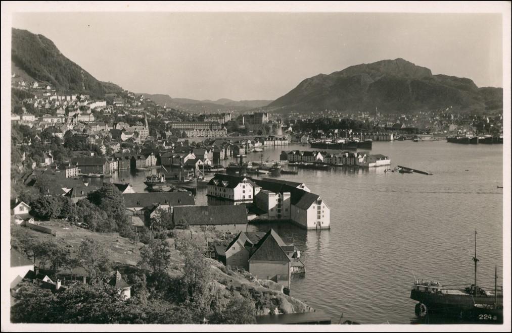 Postcard Bergen Bergen Blick auf die Stadt 1930
