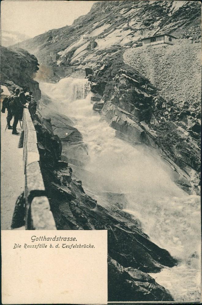 Airolo Gotthardstraße Teufelsbrück Reussfälle Wasserfall (Waterfall) 1910