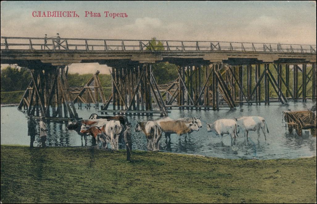 Postcard Slowjansk Слов'янськ Славянс Brücke Kühe 1913