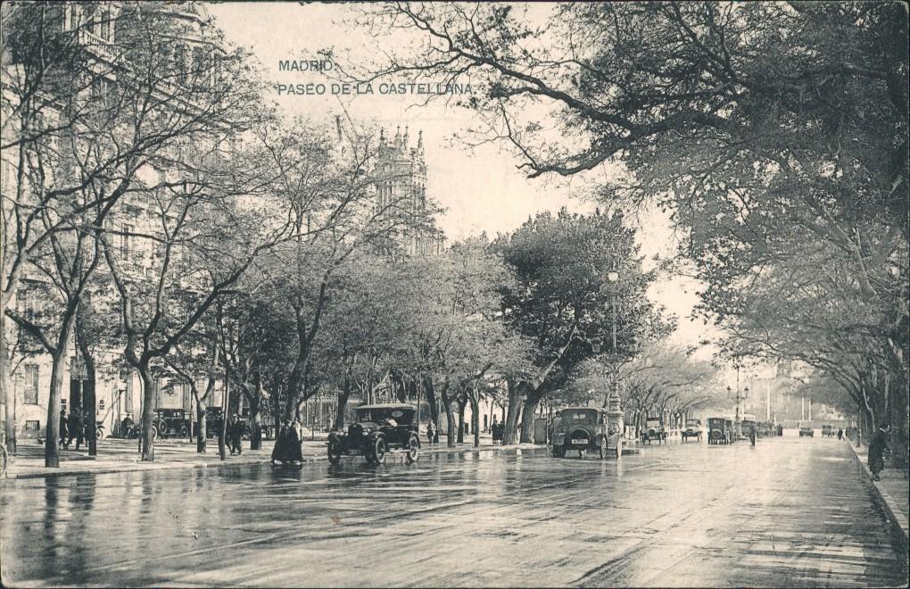 Postales Madrid Paseo de la Castellana 1912