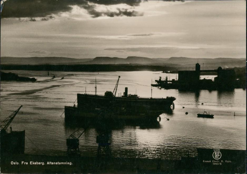Postcard Oslo Kristiania Sonnenuntergang Fra Ekeberg 1942